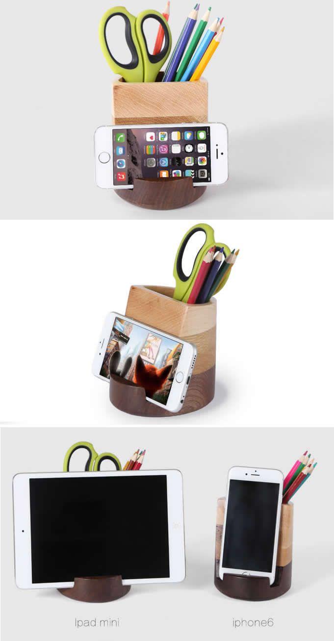 Wooden Vase  Pen Pencil Holder Desk Organizer Smartphone Holder Stand