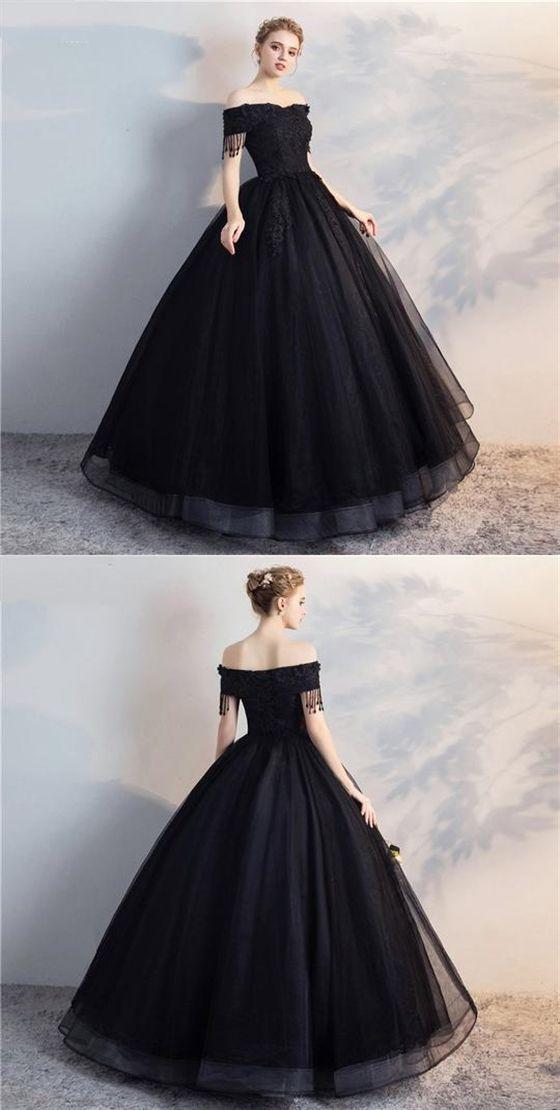 Black Off Shoulder Lace Applique Wedding Dresses A Line Bridal Dresses Black Wedding Dresses Lace Applique Wedding Dress Applique Wedding Dress
