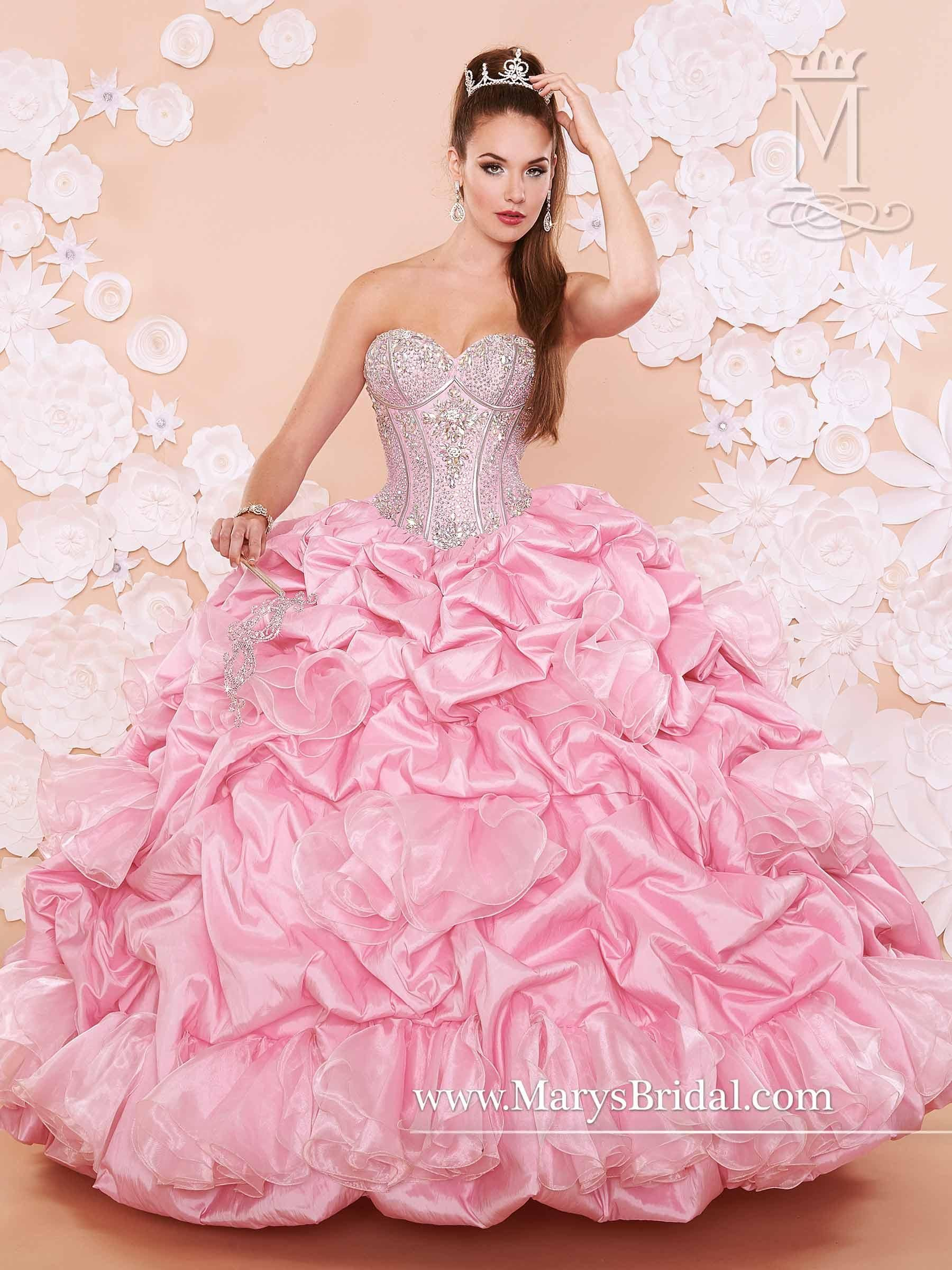 Mary\'s Quinceanera Dresses 2015 Sweetheart Neckline Draped Crystals ...