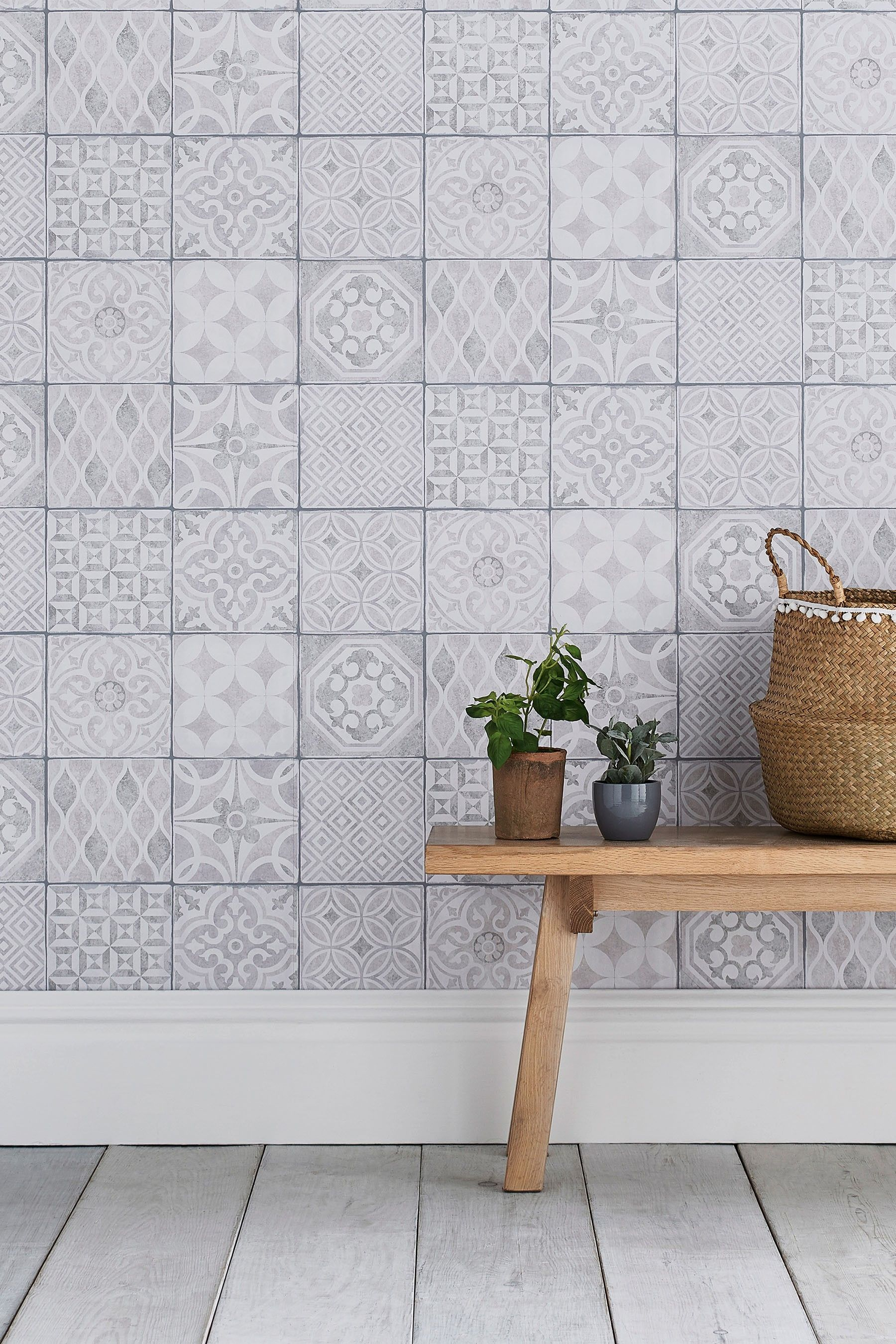 Next Paste The Wall Painted Tiles Wallpaper Natural