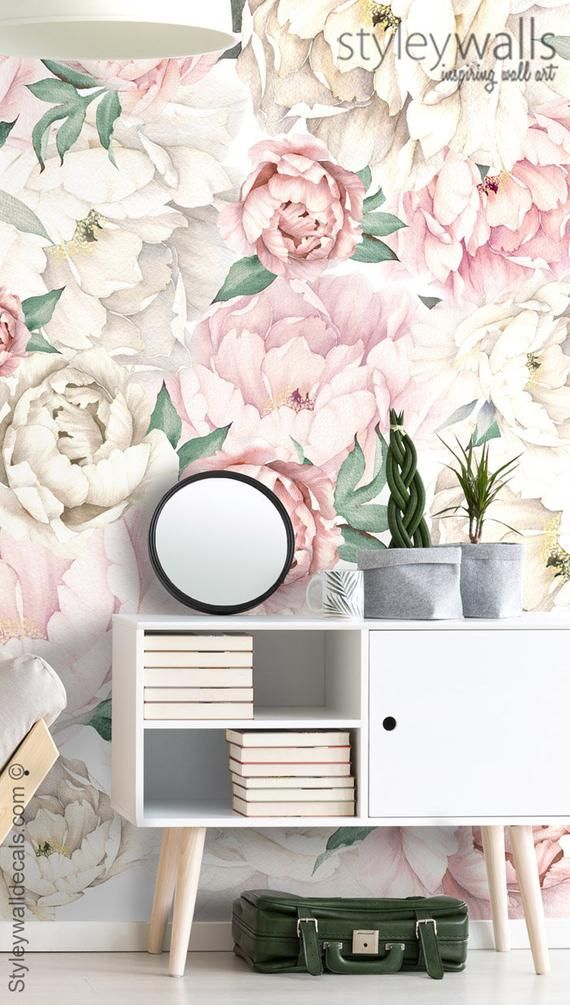 Peony Wallpaper, Peonies Floral Wallpaper, Pink White