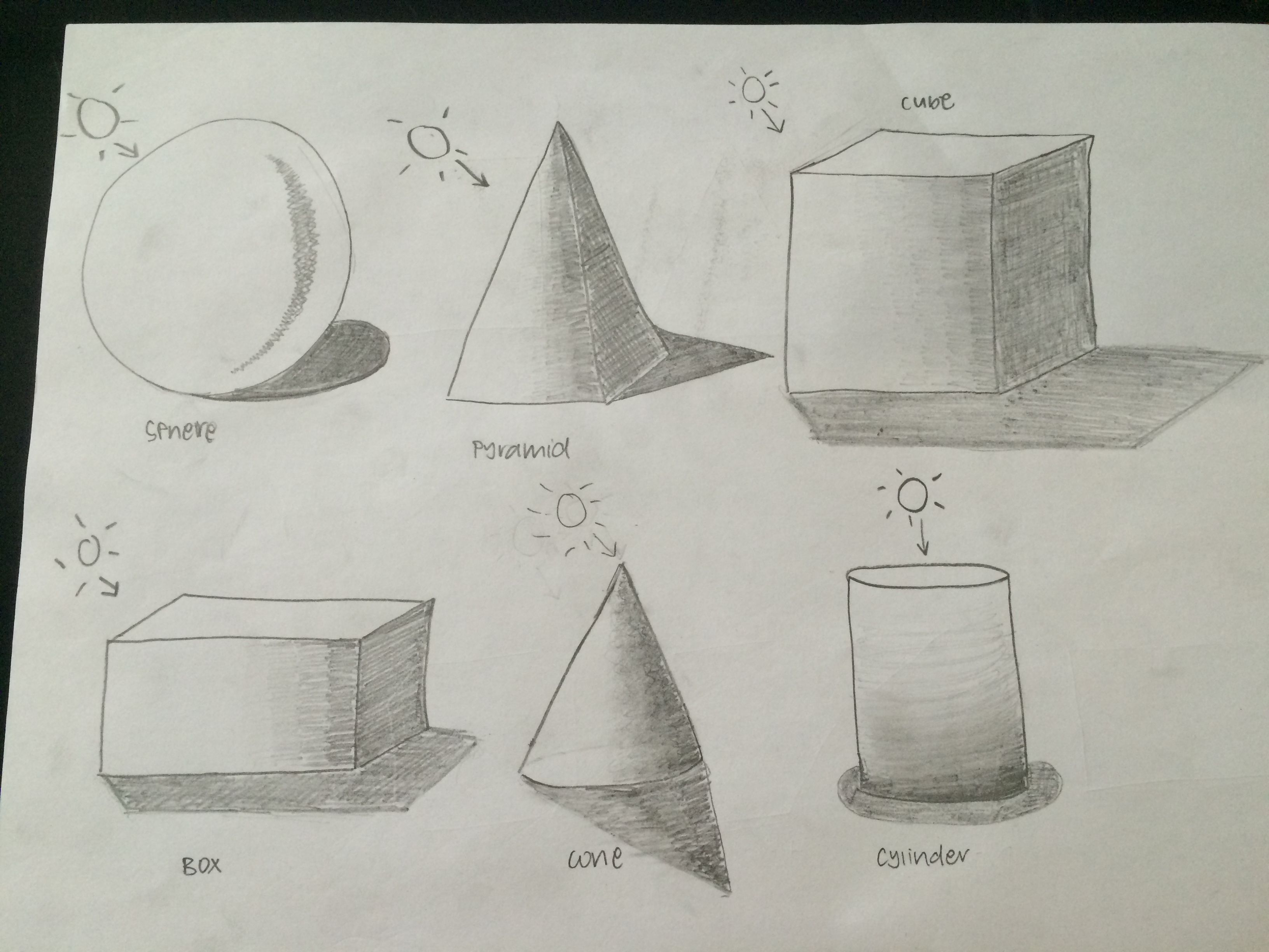 Line Drawing With Shading : B translate basic shapes into simple forms with shading