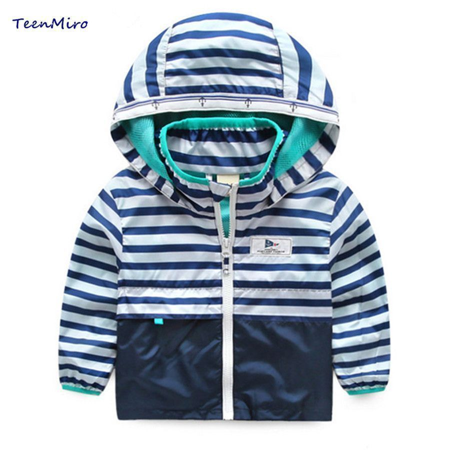 df7c12f5117d Kids Striped Toddler boys Jackets Spring Autumn Hooded Coat Clothes ...