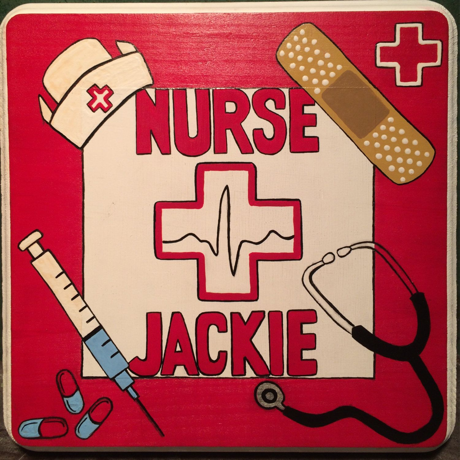 """6"""" x 6"""" square hand painted, personalized Nurse sign"""