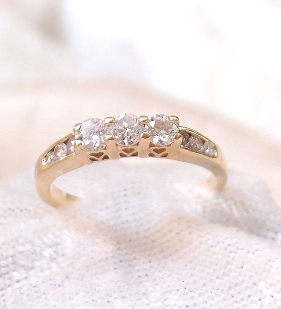 Vintage Three Diamond Ring in 14K Yellow Gold with by hotvintage, $495.00