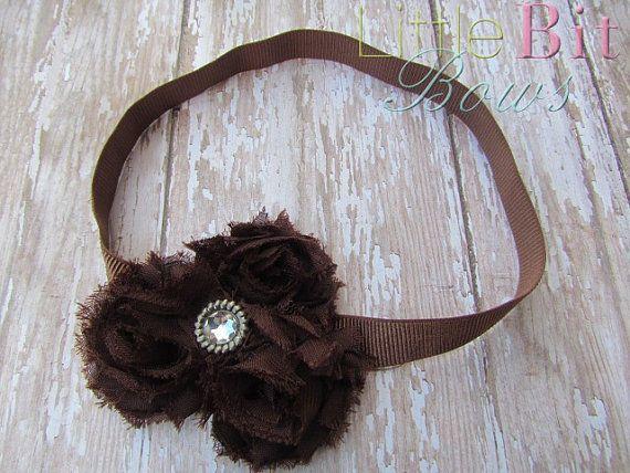 Brown Shabby Flower Elastic Headband