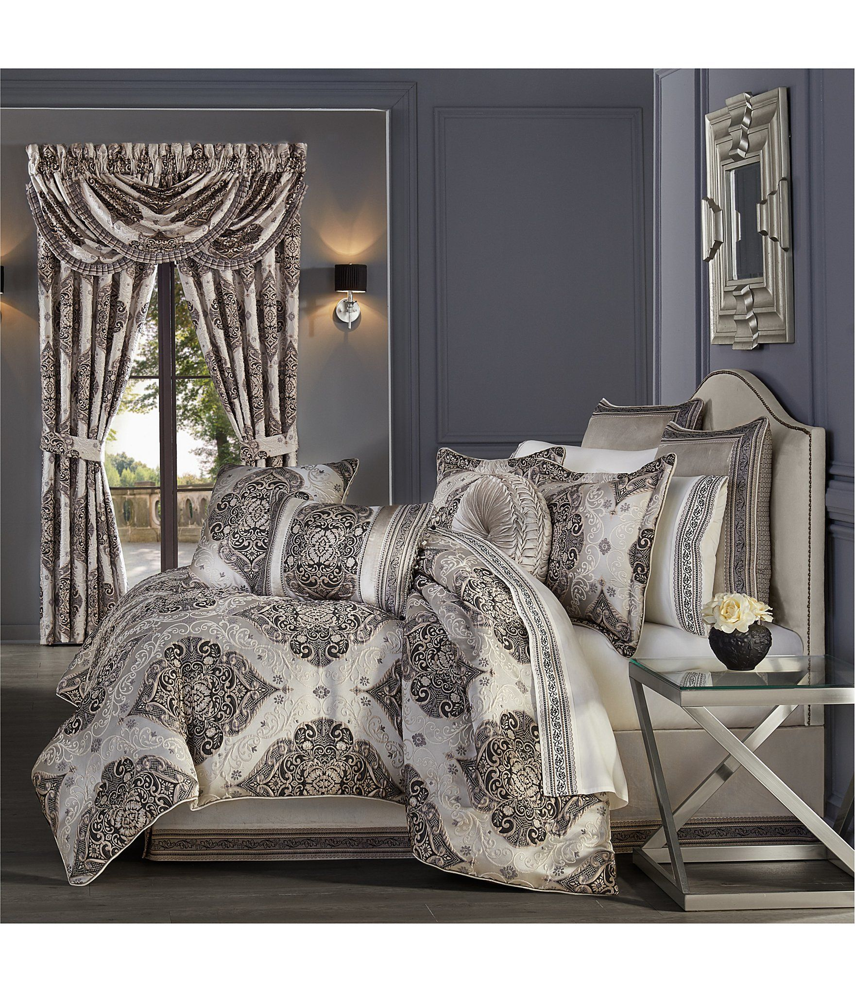 BEAUTIFUL MODERN ELEGANT BROWN TAUPE BLUE IVORY SILVER GREY SCROLL QUILT SET NEW