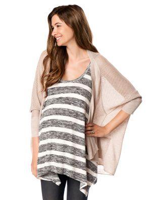03c6b23cf7788 Destination Maternity Wendy Bellissimo 3/4 Sleeve Cascade Maternity Sweater