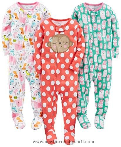 269833f23d4ae Baby Girl Clothes Simple Joys by Carter's Toddler Girls' 3-Pack Snug Fit  Footed Cotton Pajamas, Owl/Monkey/Animals Green, 3T