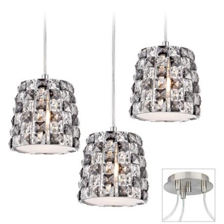 Checkerboard Crystal 3 Light Nickel Multi Light Pendant X9880 W6673 Lamps Plus Multi Light Pendant Chandelier Swag Chandelier