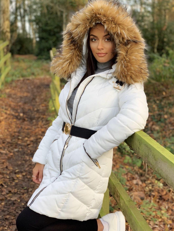 Longline Faux Fur Hooded Belted Padded Puffer Coat White Puffer Coat Puffer Jacket Women Womens Fashion Winter [ 1413 x 1063 Pixel ]