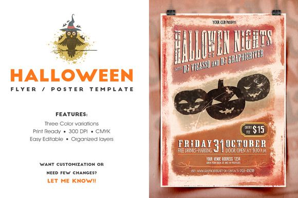 Halloween Flyer/Invitation by What a Story on Creative Market - Invitation Flyer Template
