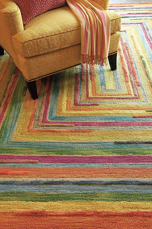 Company C Concentric Squares Rug Wide Strips Of Wool Along With New Zealand Yarns Are Tufted And Hooked In A Faithful Reproduction An Antique
