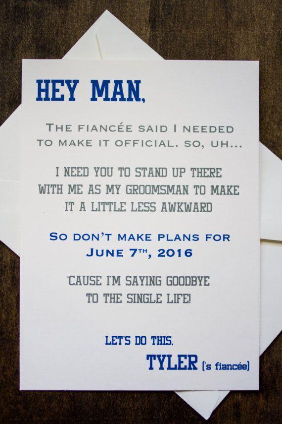 Groomsman Card Invite Will You Be My Groomsman Funny Pinterest