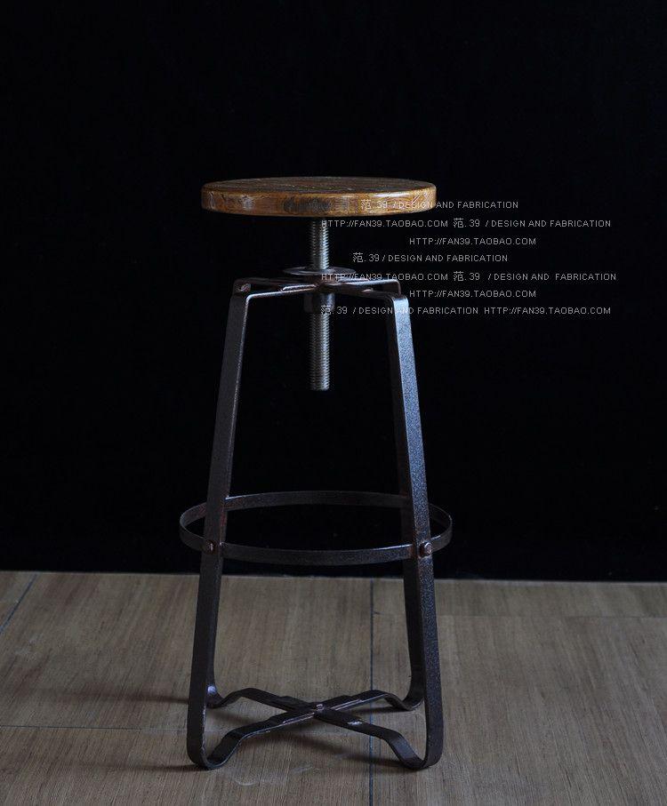 retro americana xido imitacin barra de hierro forjado taburetes de madera silla silla taburete negro pizarra