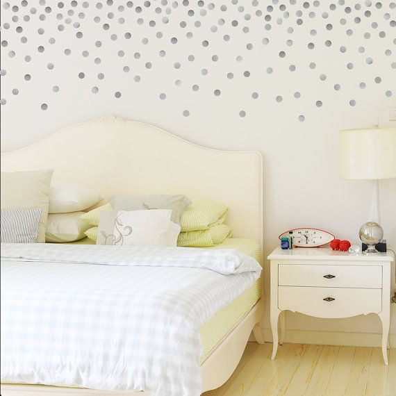 Coral Pink Watercolour Polka Dot Wall Decals Placed As A Pattern - Wall decals polka dots