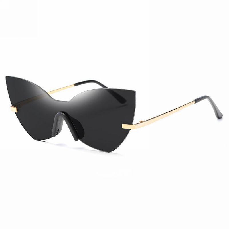 Oversized Cat Eyes Shield Sunglasses Black Lens Gold-Tone Arm | Cat ...
