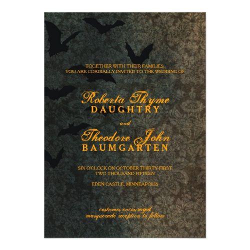 Dark Damask Halloween Wedding Invitation Halloween Wedding