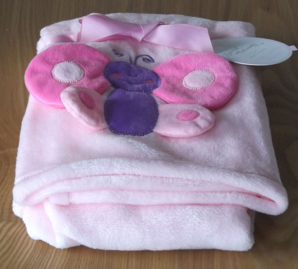 Pink Crinkle Fleece Blanket Girls Butterfly Design Pram Cot Crib New