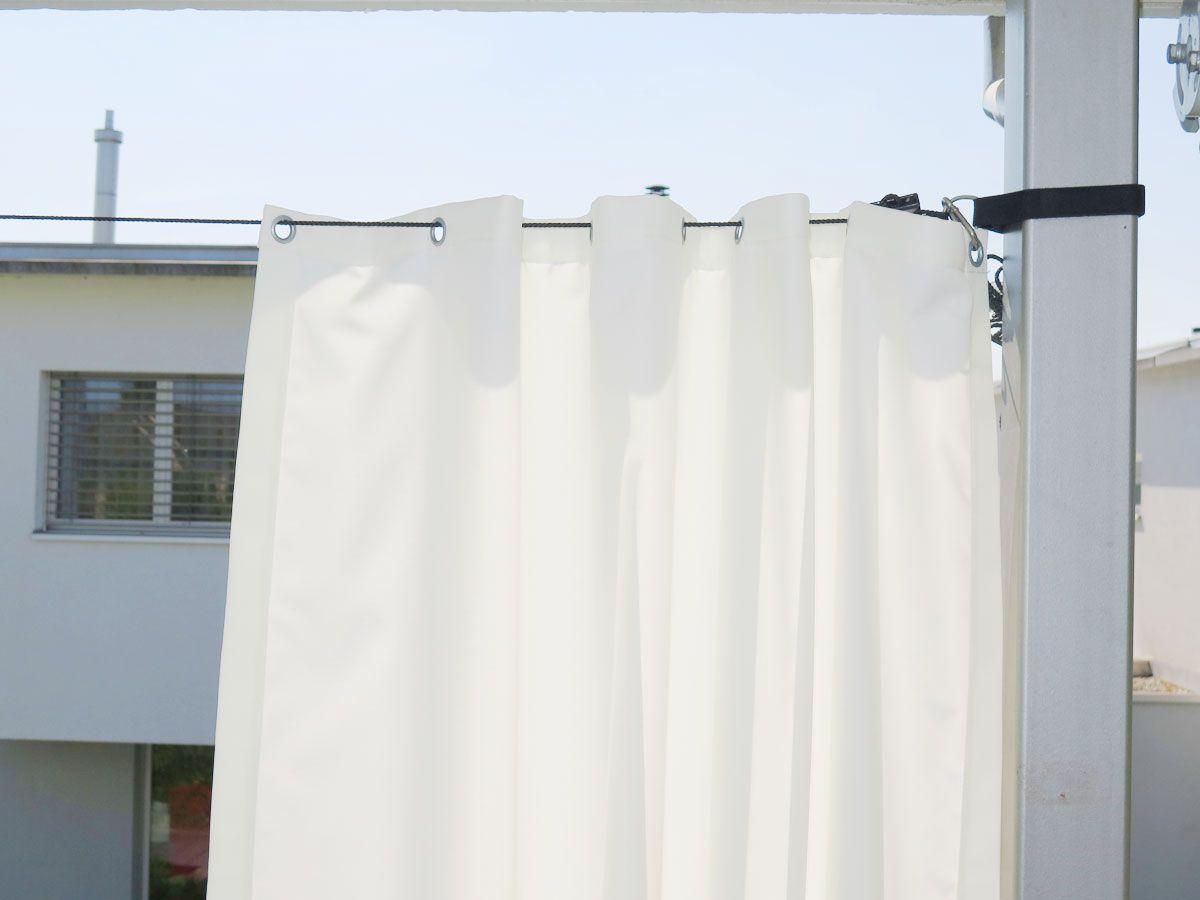 Aufhängesystem für Outdoor-Vorhänge [Stahl-Ersatz-Seil + Klett] » vorhangbox.ch