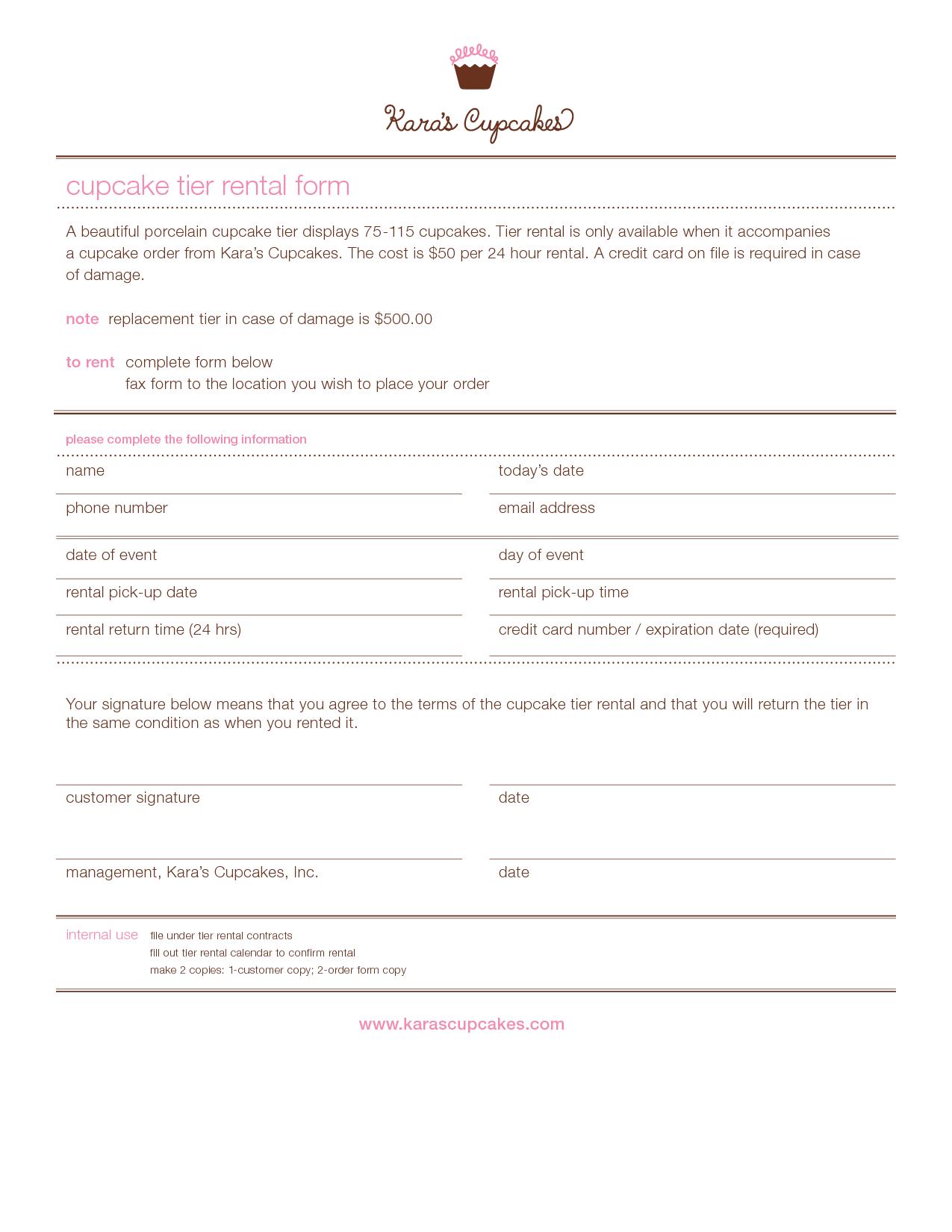 cake order contract cupcake tier rental form PDF PDF