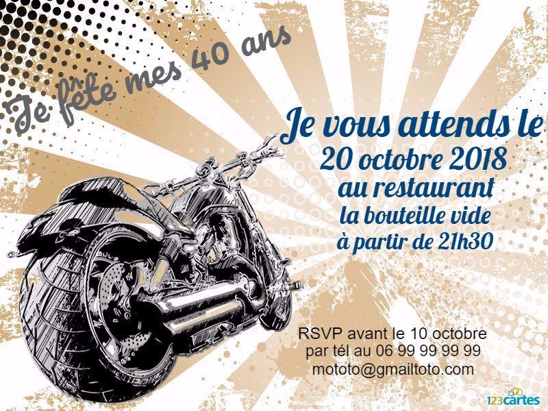Invitation anniversaire 40 ans Moto custom | Invitation anniversaire 40 ans, Invitation ...