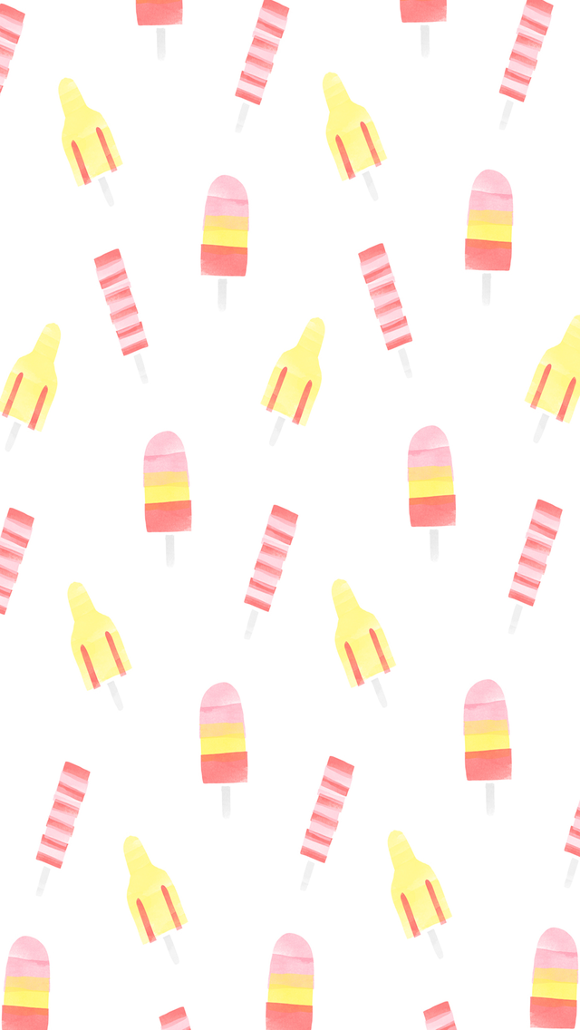 Summer Ice Pops Watercolor iPhone Wallpaper Home Screen