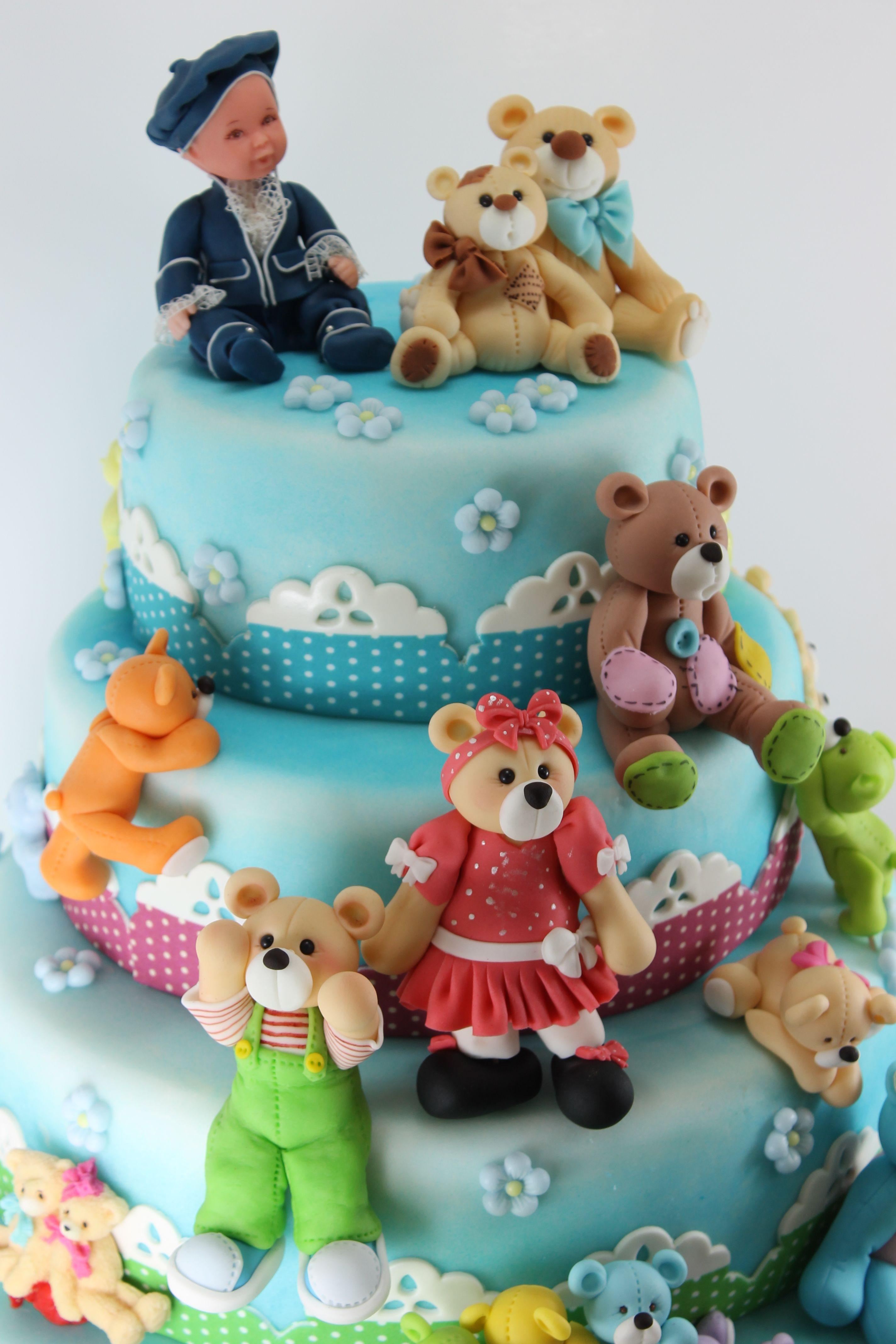 Cute Baby Amp Amp Teddy Bear Cake