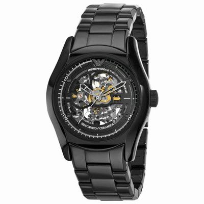 6ab967cdaa0 Buy Emporio Armani AR1414 Mens Ceramic Black Skeleton Dial Watch UK on sale  147GBP armaniemporiowatches.co.uk.