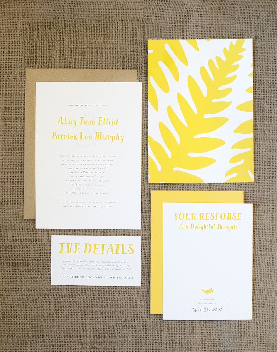 Rustic Yellow Fern Wedding Invitation Set Blog