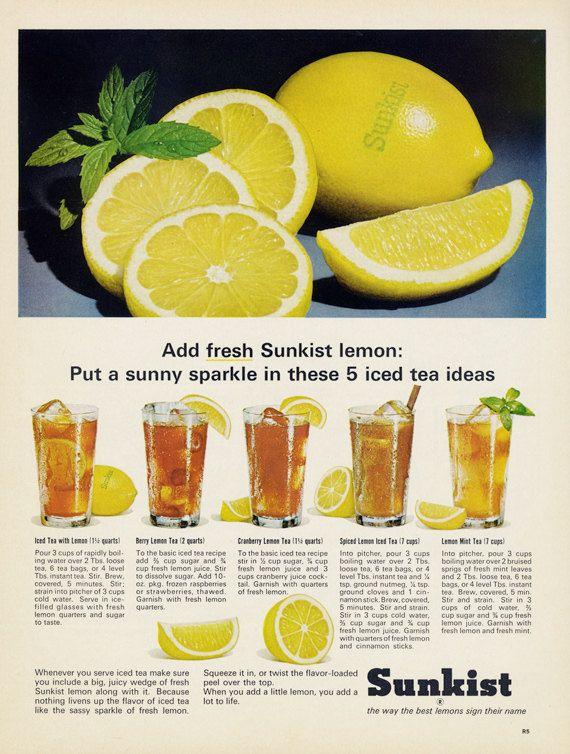 1965 Sunkist Lemon Vintage Ad Iced Tea Recipes Vintage Food - fresh blueprint 3 commercial
