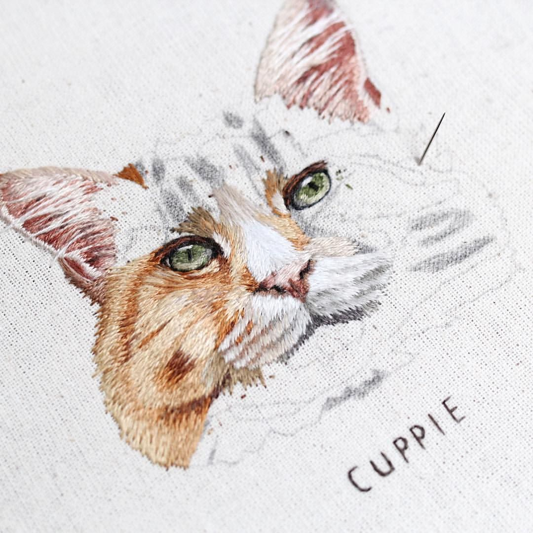 Slow Progress On This Cutie Its Always Hard To Predict How Long A Hoop Will Take Me I Like To Thin Portrait Embroidery Animal Embroidery Embroidery
