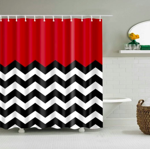 Zigzag Red Fabric Shower Curtain Fabric Shower Curtains Modern