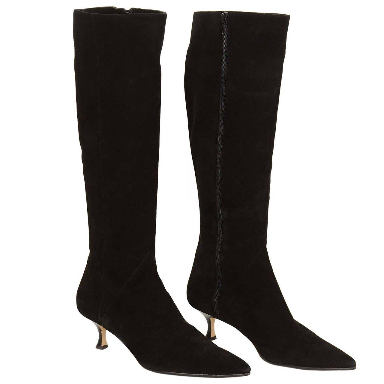 Manolo Blahnik Black Suede Tall Boots W Kitten Heel Sz 42 1stdibs Com Manolo Blahnik Heels Manolo Blahnik Boots