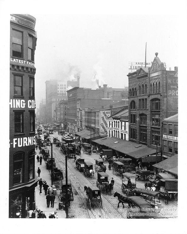 Downtown Pittsburgh Pa Liberty Avenue Scene Ca 1900 1910 Pittsburgh Skyline Pennsylvania History Pittsburgh Bridges