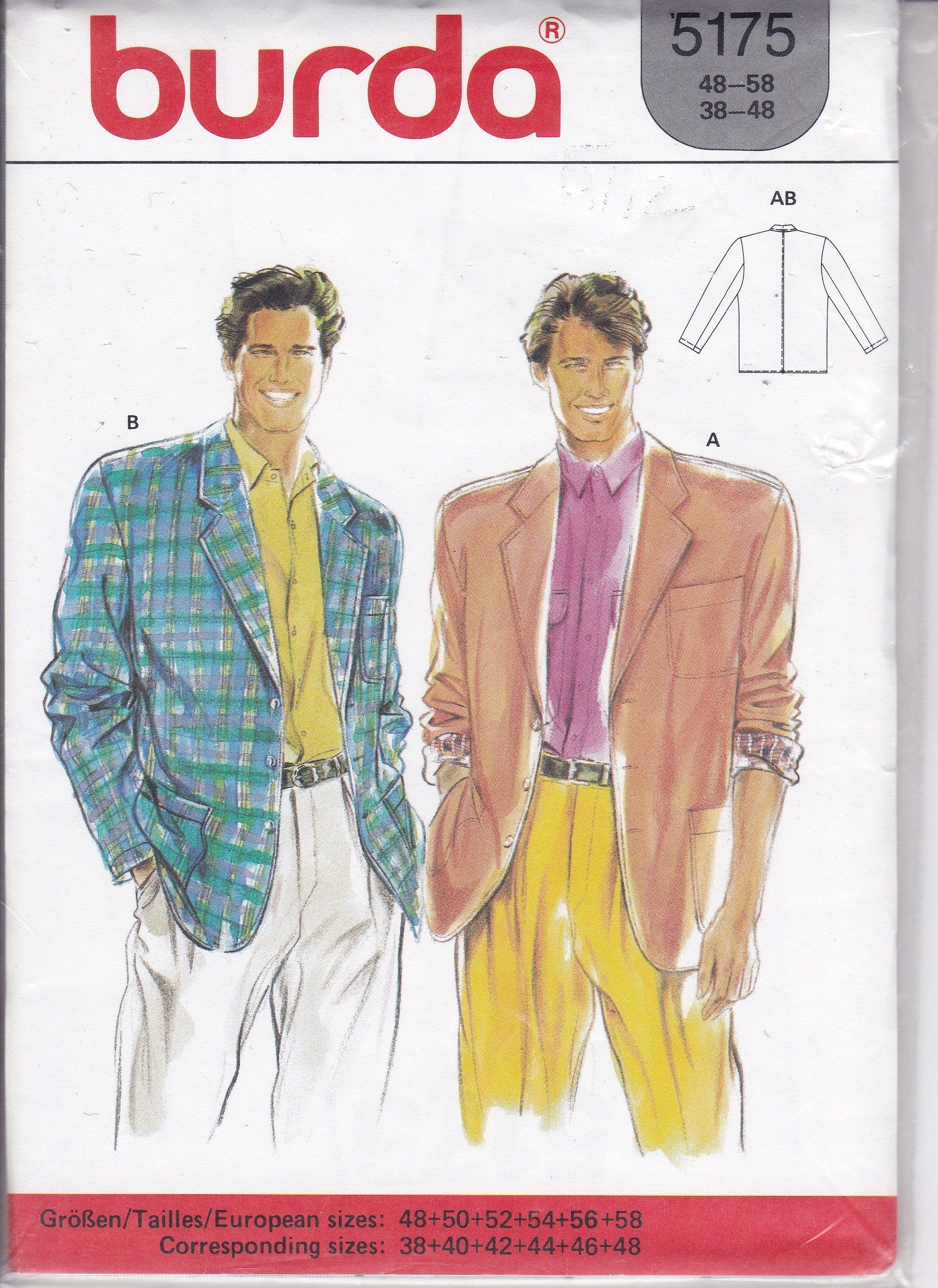 Men S Sewing Pattern For Retro 80 S Suit Jacket With Wide