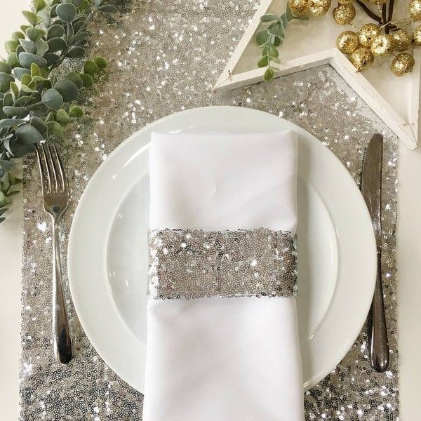 The Sweet Hostess Christmas Silver Sequin Table Runner 28 Liked On Polyvore Featuring Home Kitchen Sequin Table Runner Sequin Table Xmas Table Runners