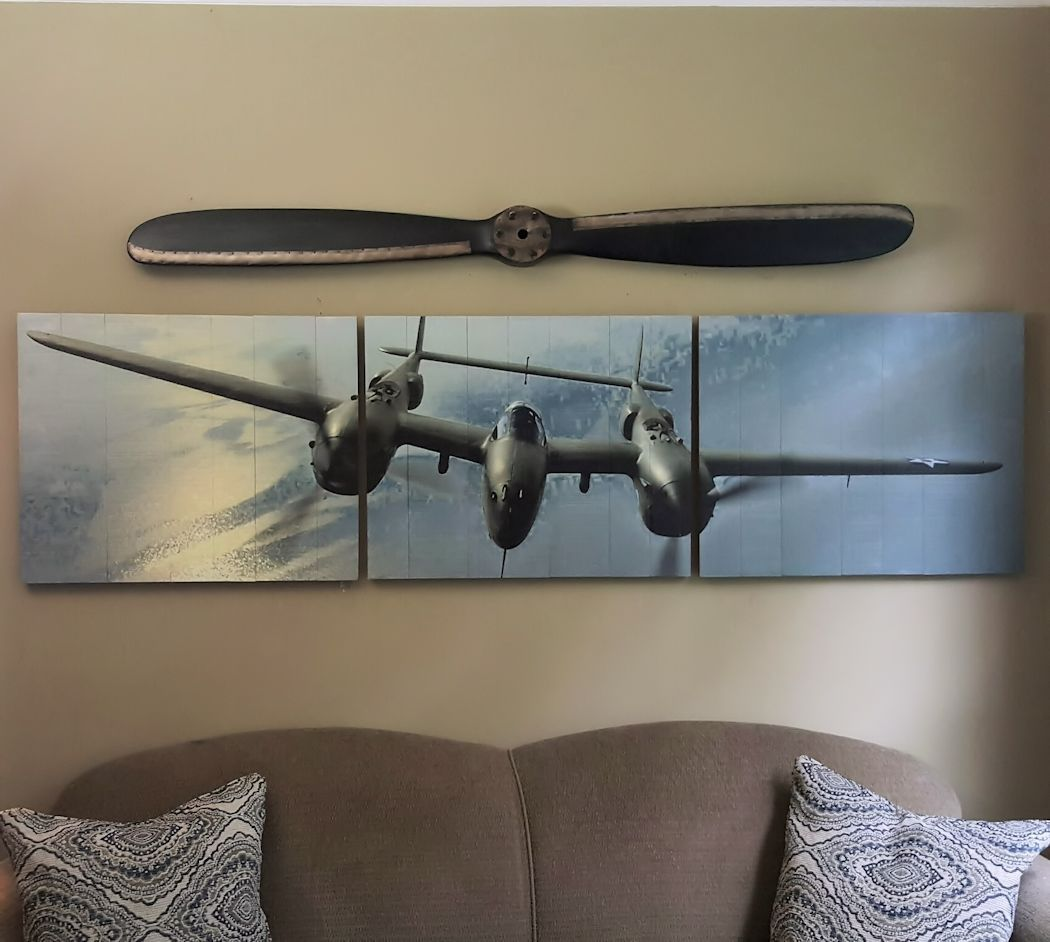 P 38 Lightning Wood Triptych Aviation Art Retro And Vintage Themed Wood And Metal Signs Aviation And More Aviation Decor Airplane Wall Art Vintage Airplane Wall Art