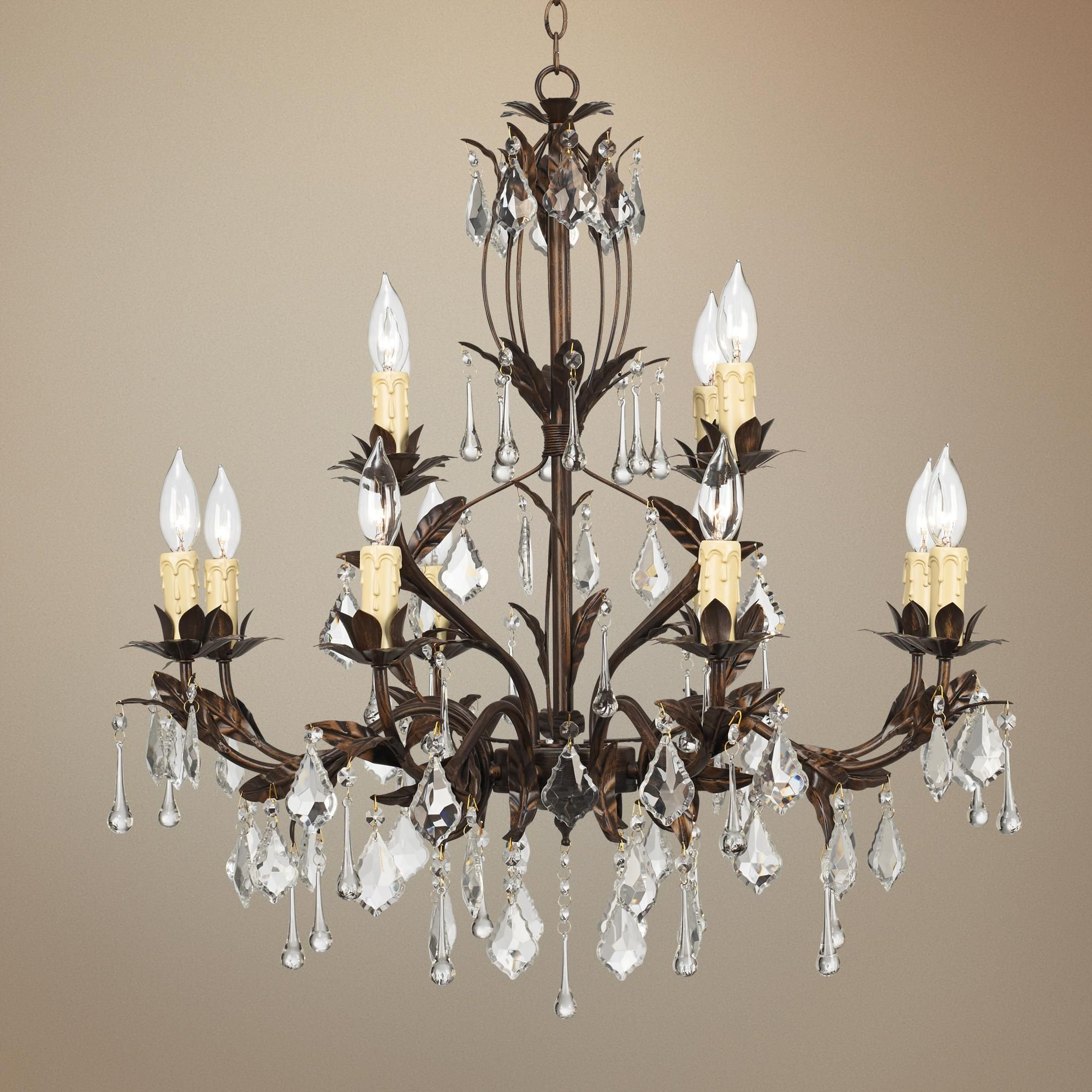 Kathy Ireland Venezia Wide Bronze Chandelier