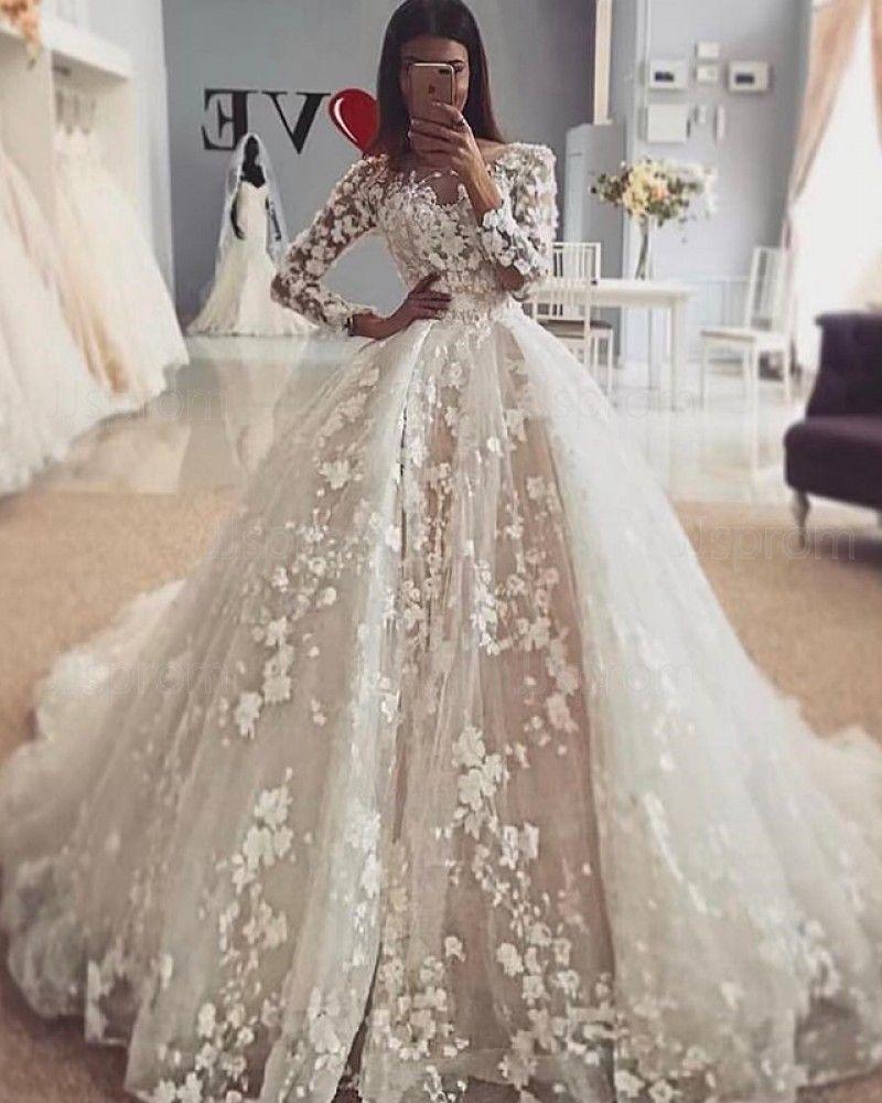 Elegant Jewel Ivory 3d Lace Flowers Long Sleeve Wedding Dress With Detachable Skirt Wd2110 Princess Bridal Gown Long Sleeve Ball Gown Wedding Dress Wedding Dresses