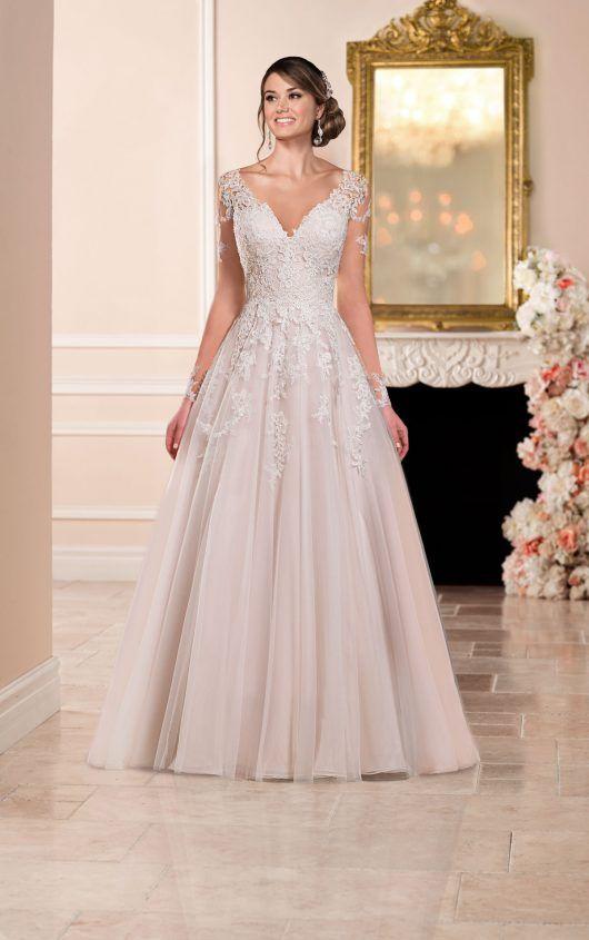 6364 A-line Wedding Dress with Illusion Neckline by Stella York c5db470138f1