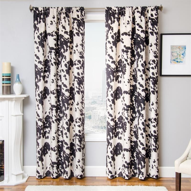 Santana Faux Cowhide Curtain Panels 108 Inch Curtains Drapery