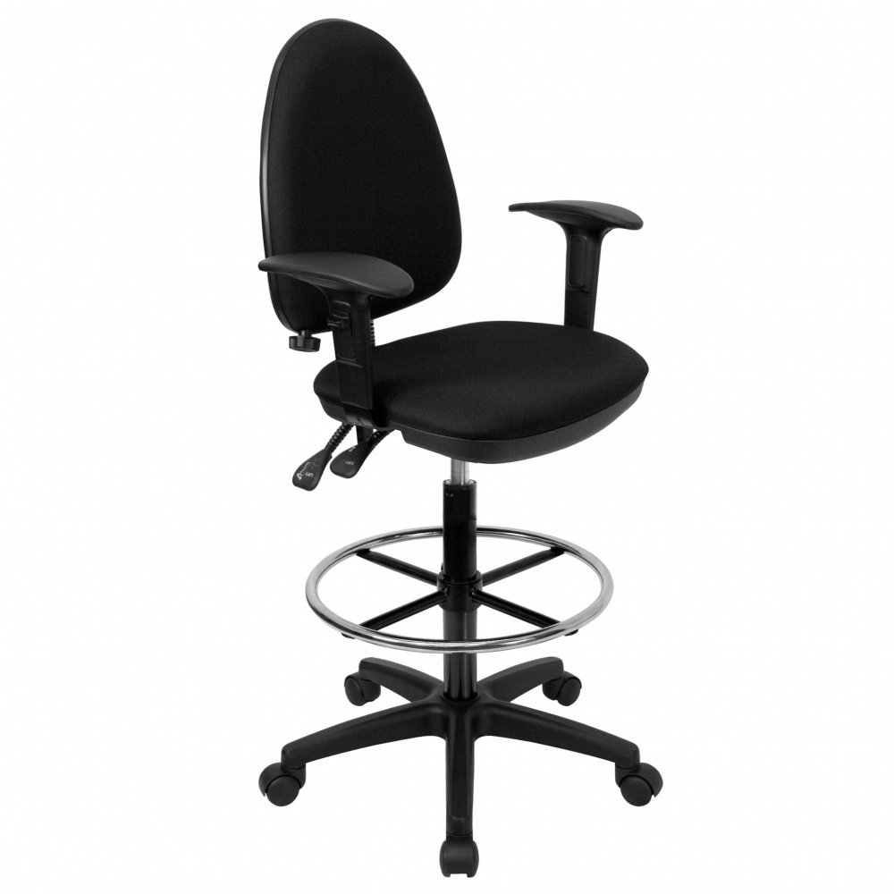 mid back black fabric multi functional drafting stool with arms and