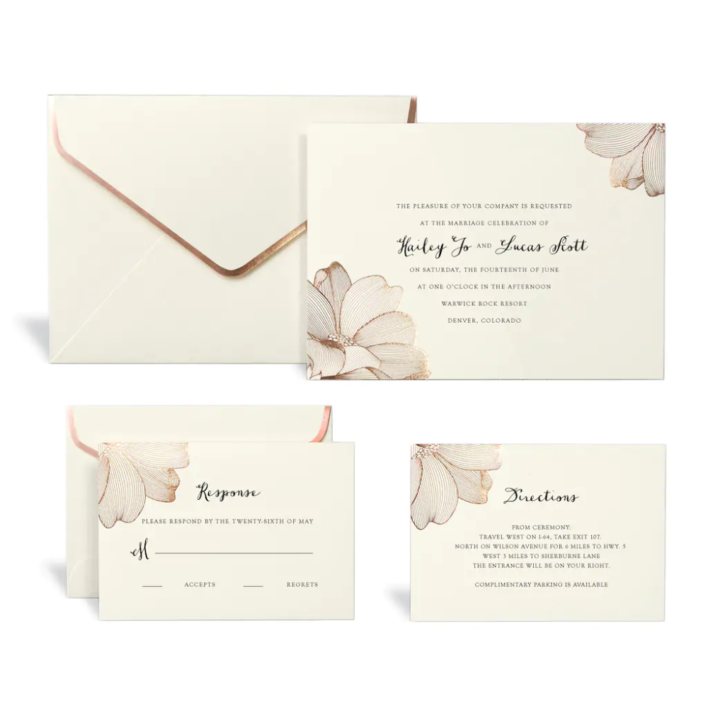 Rose Gold Floral Wedding Invitation Kit By Celebrate It Wedding Invitation Kits Diy Wedding Invitation Kits Floral Wedding Invitations