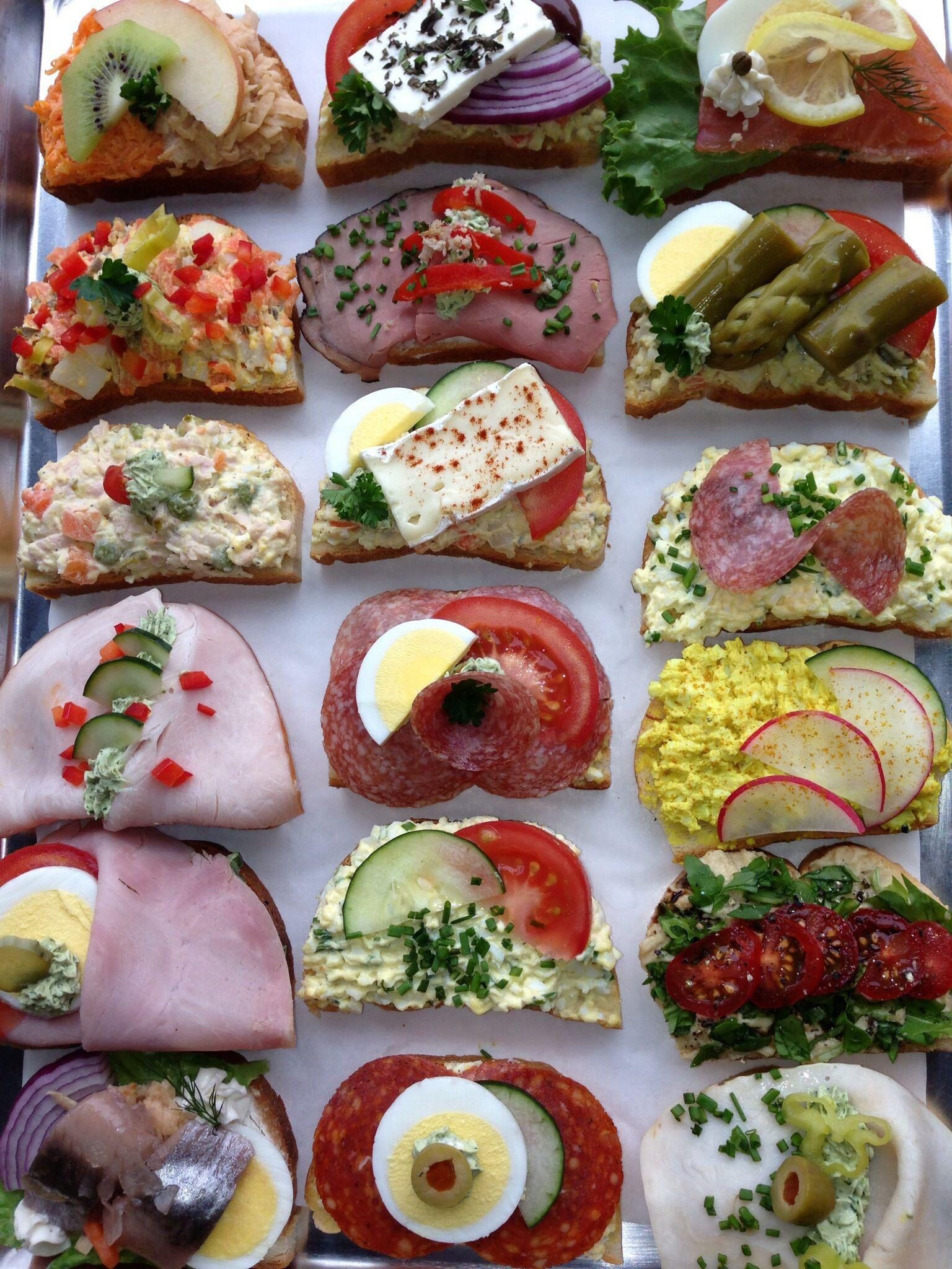 Open face Danish sandwiches
