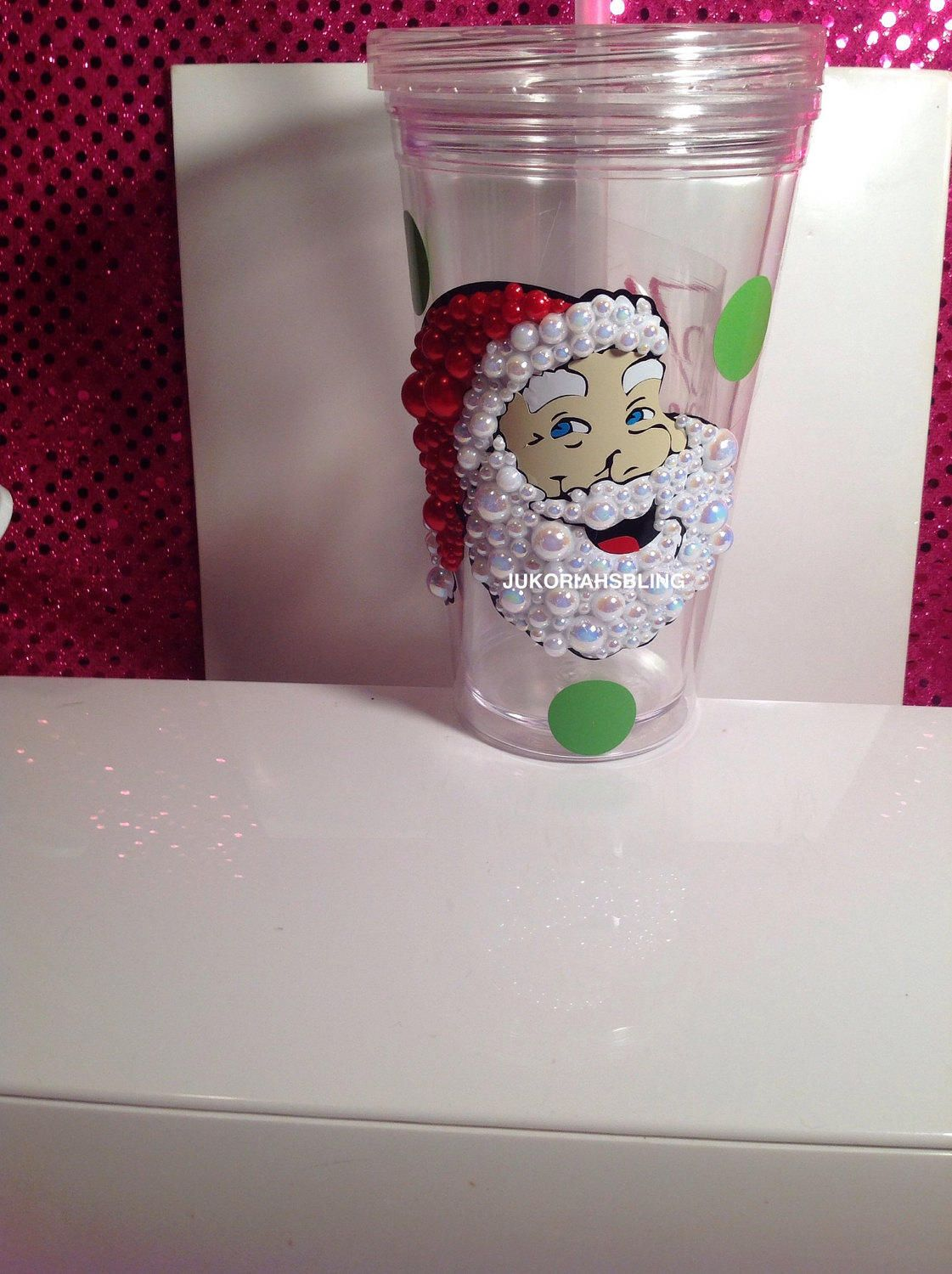 A personal favorite from my Etsy shop https://www.etsy.com/listing/494975033/christmas-cup-bling-black-santa-tumbler
