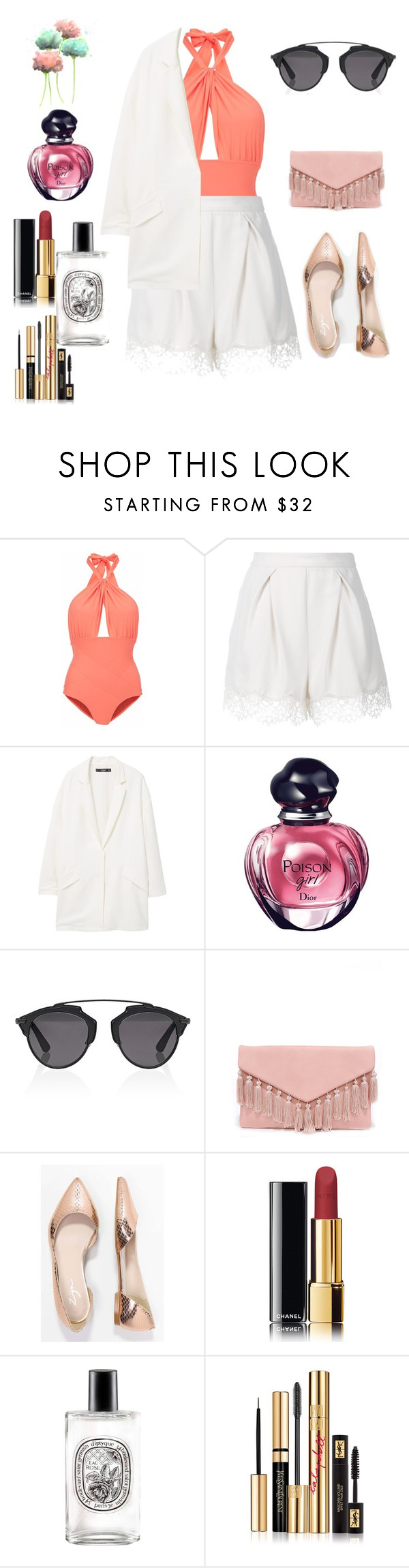 """""""Summer Style"""" by mat-beades ❤ liked on Polyvore featuring Lilliput & Felix, Zimmermann, MANGO, Christian Dior, LULUS, Zign, Chanel, Diptyque, Yves Saint Laurent and Summer"""