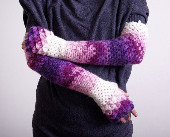 Long Fingerless Gloves Crocheted mittens - violet burgundy pink white Arm warmers