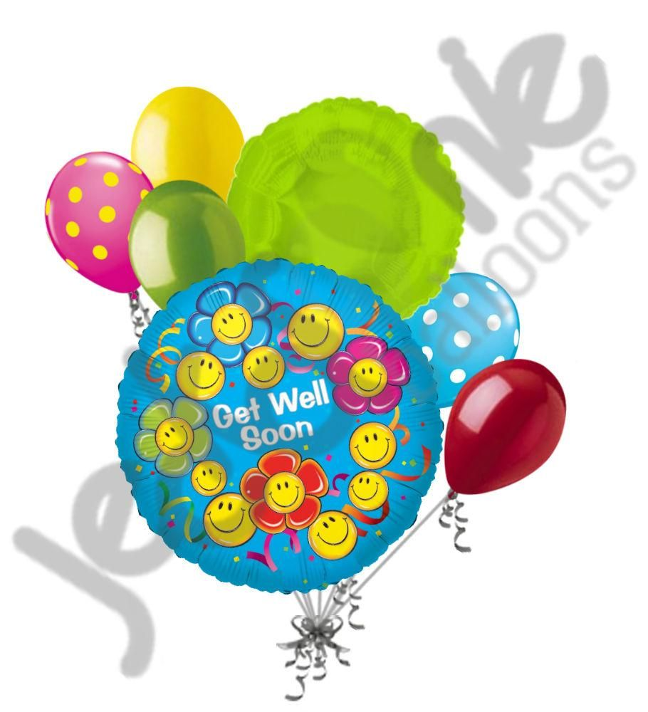 Get well soon daisy smiley face flowers balloon bouquet products get well soon daisy smiley face flowers balloon bouquet izmirmasajfo