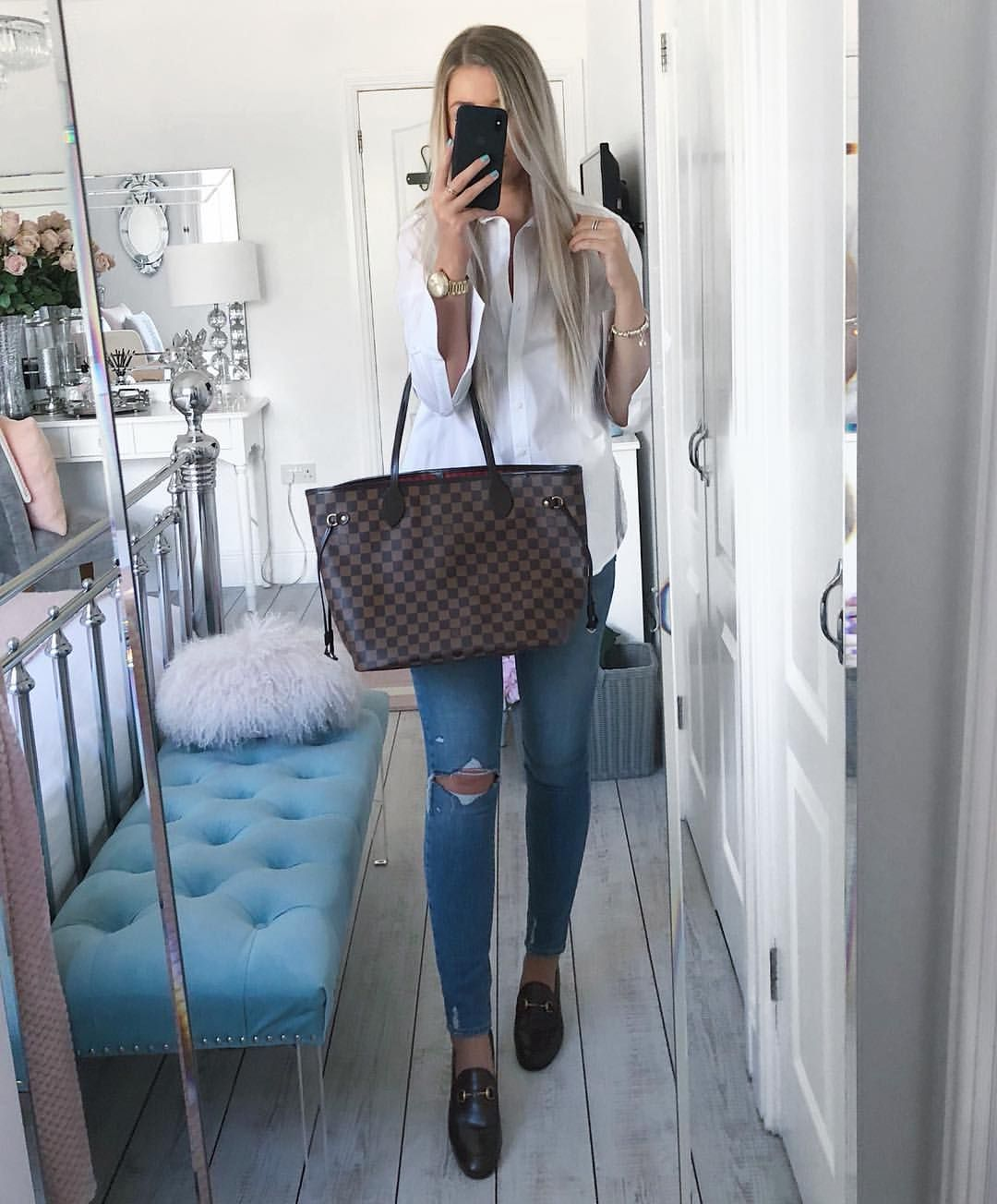 6f7e0429c Instagram @emilyjanehardy Brown Gucci Jordaan loafers, white shirt, spring  style, Louis Vuitton Neverfull bag, Damier ebene, paige denim